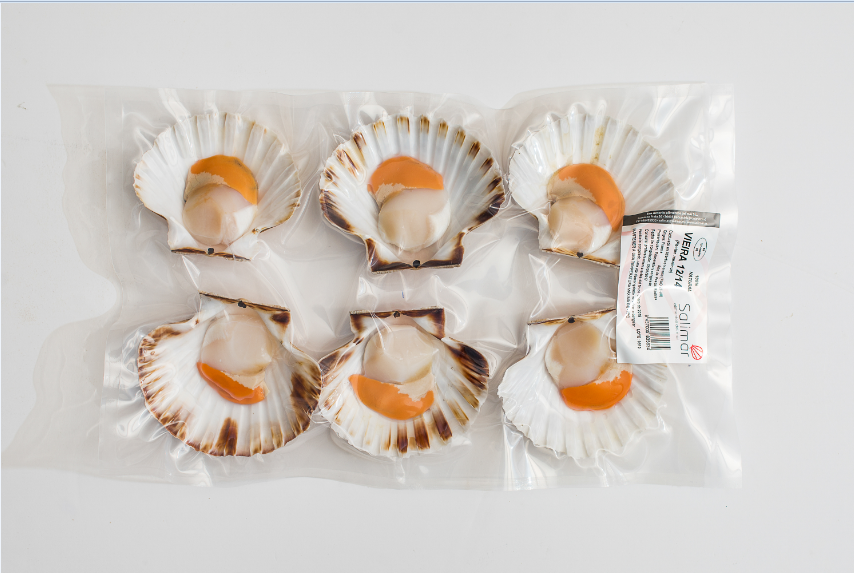1/2 concha de vieira envasada al vacío, refrigerada o congelada